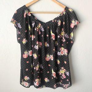 Lauren Conrad Black Polka Dot & Floral Blouse